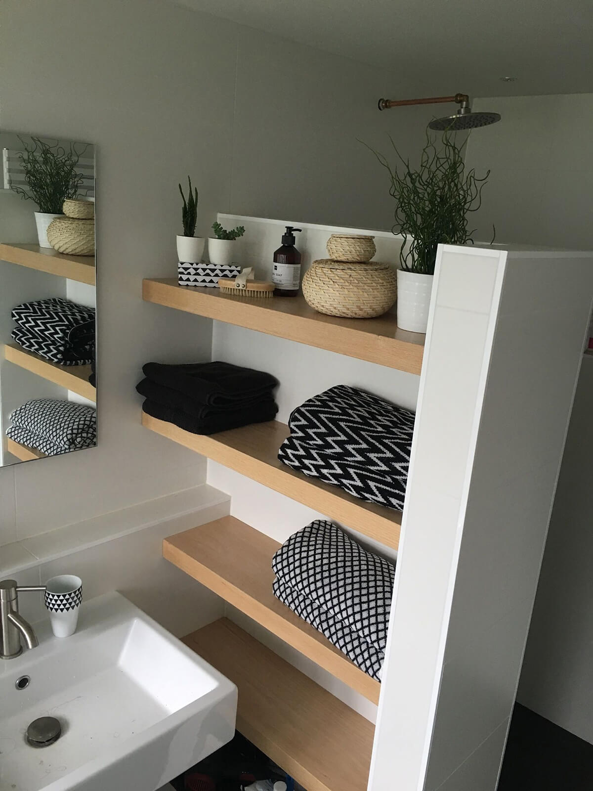 Modern Shelves with Shower Wall Extension