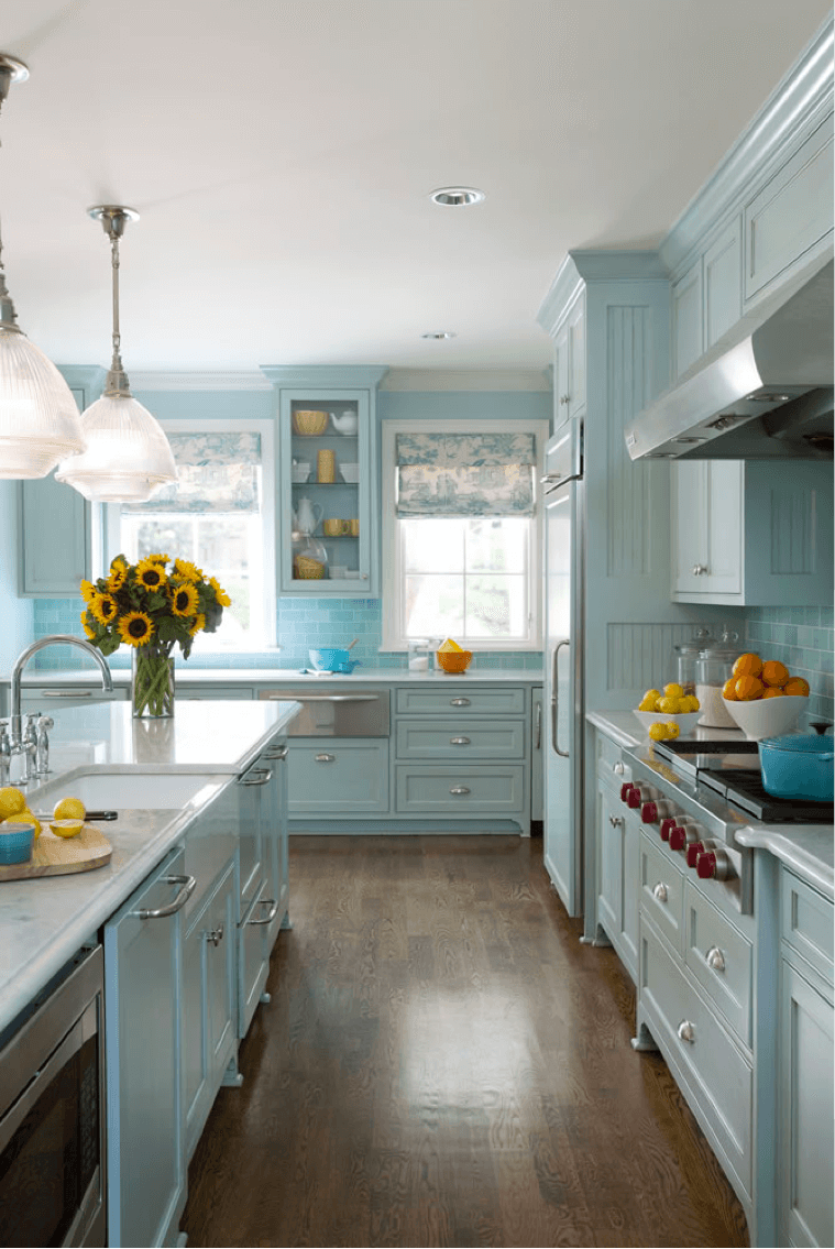 Blue with Pops of Yellow Cottage Kitchen