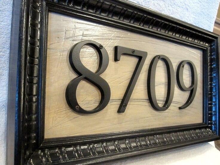 Elegantly Framed House Numbers on Wood