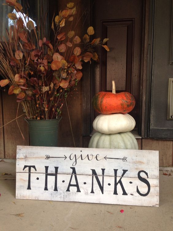 Rustic Weathered Wood Porch Thanksgiving Sign Décor