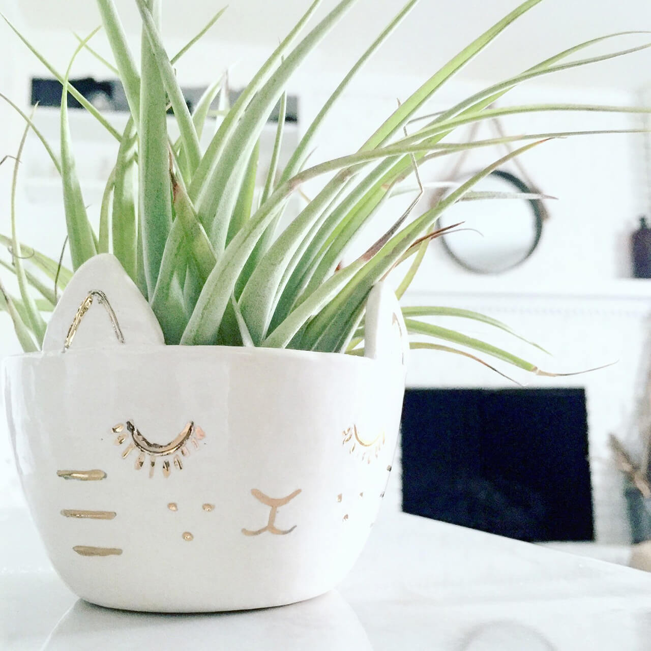 Sleeping Cat Planter with Golden Accents