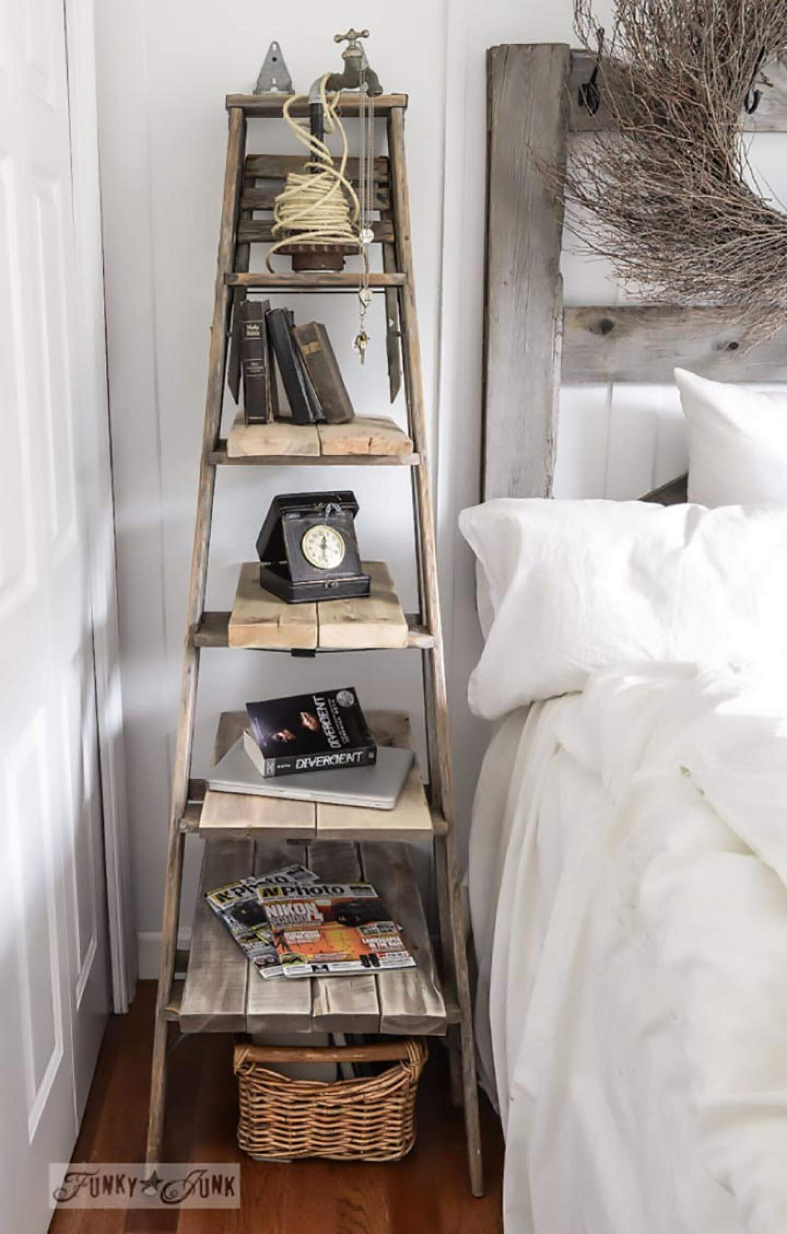 Plank and Ladder Bedside Shelf