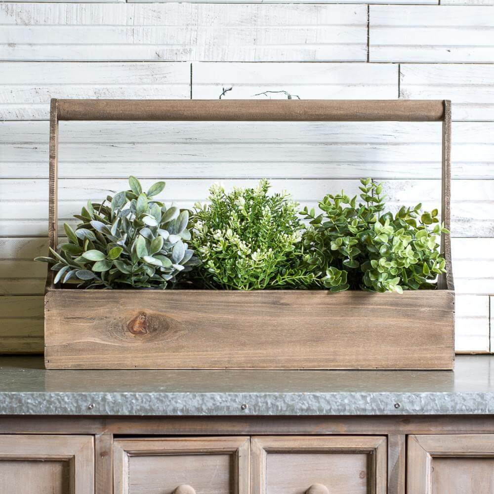 Softly Finished Wooden Planter Box with Greens