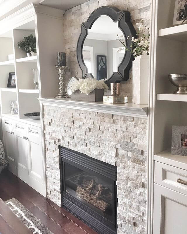 Gas Fireplace Blends with Built-In Shelves