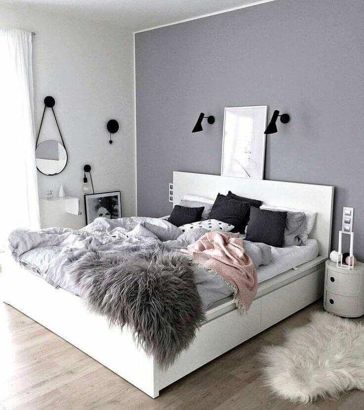 The Variation of Textures Make this Minimalist Grey Bedroom Pop