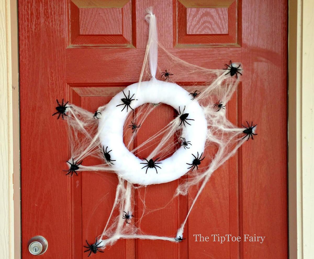 Fully Cobwebbed Spider Themed Wreath