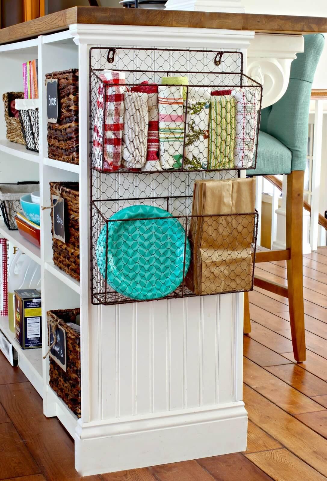Chicken Wire Kitchen Organizer Baskets