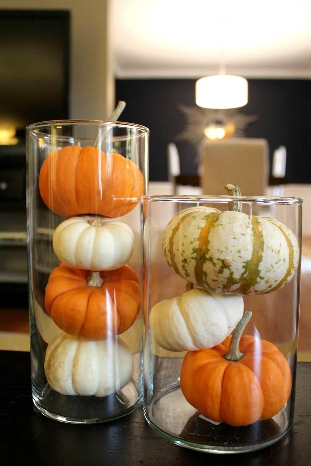 Clear Vases Highlight Pumpkin Color