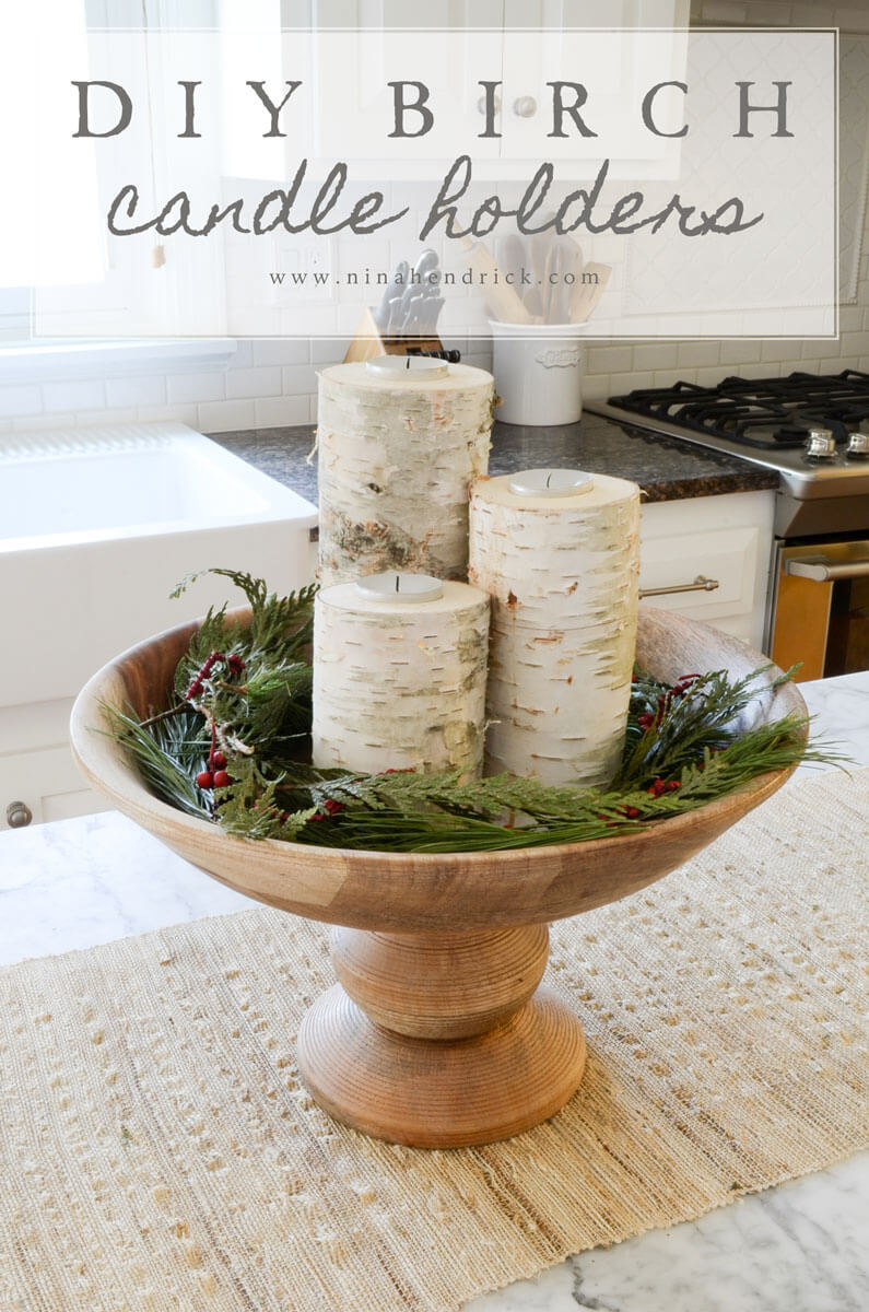 Rustic Birch Log Candle Holders