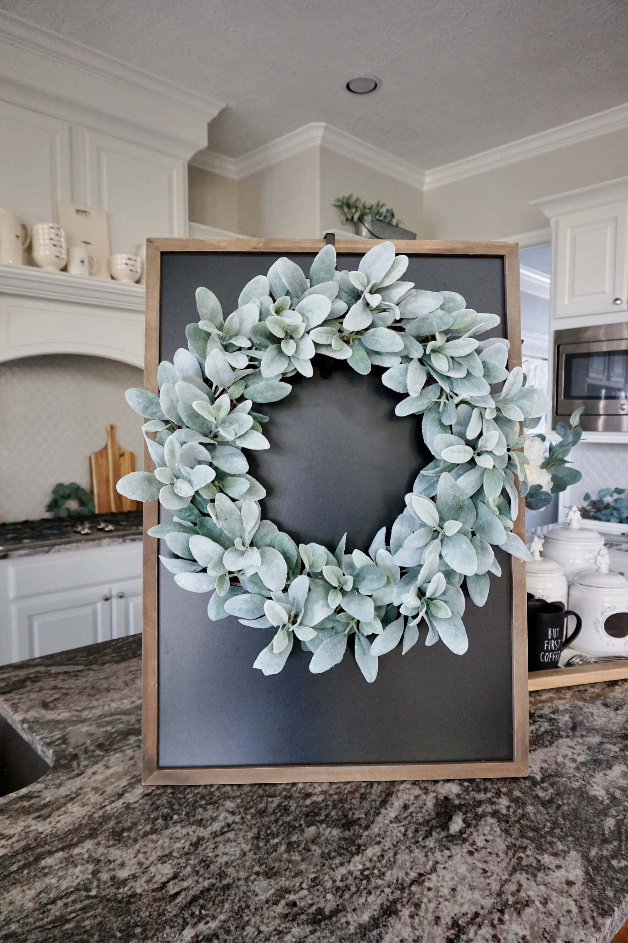 Sage Green Leaves with a Chalkboard Backing
