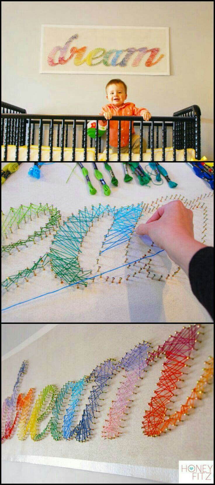 "Rainbow ""Dream"" String Art Sign"