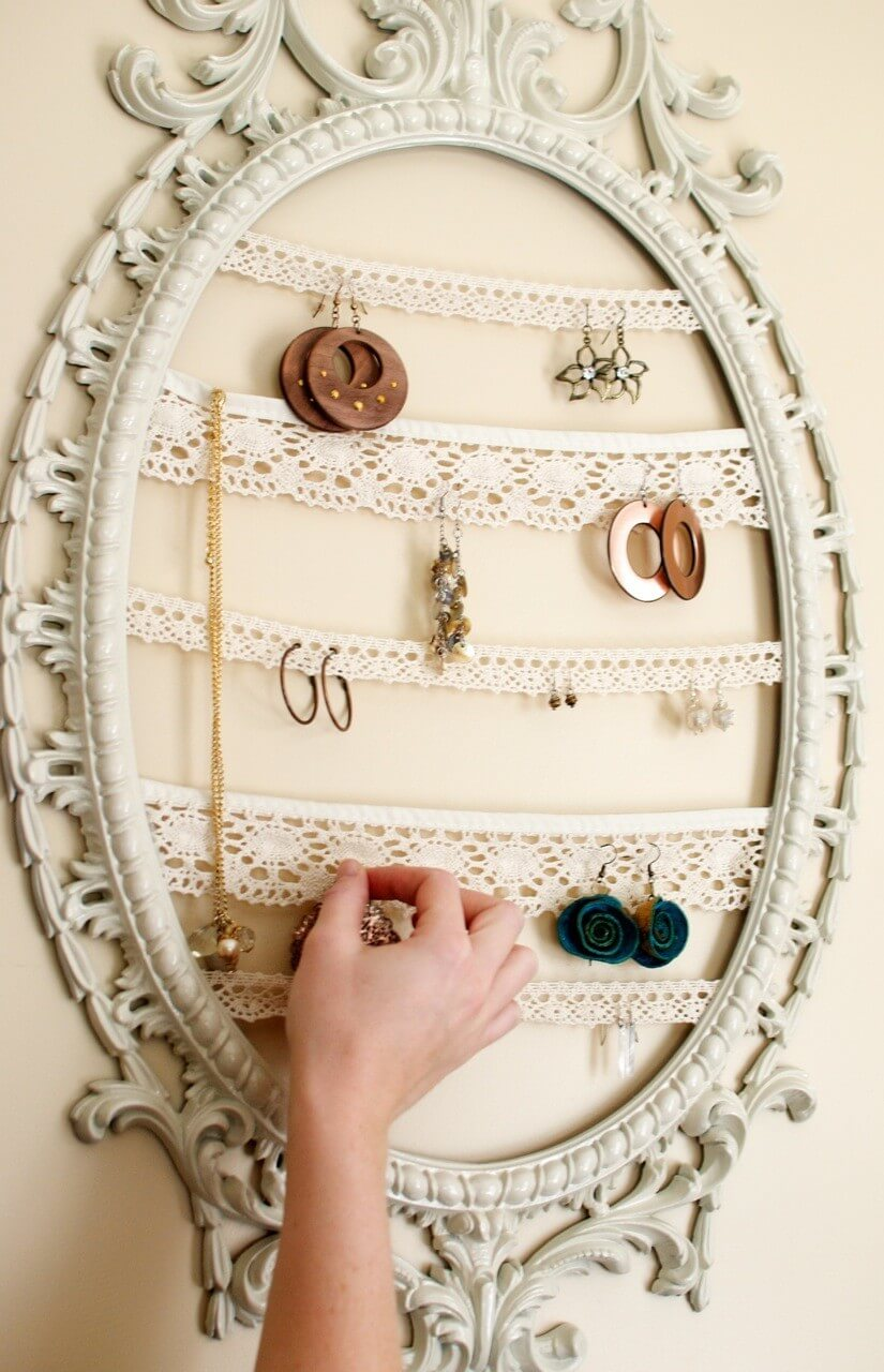 Vintage Frame And Lace Trim Jewelry Organizer