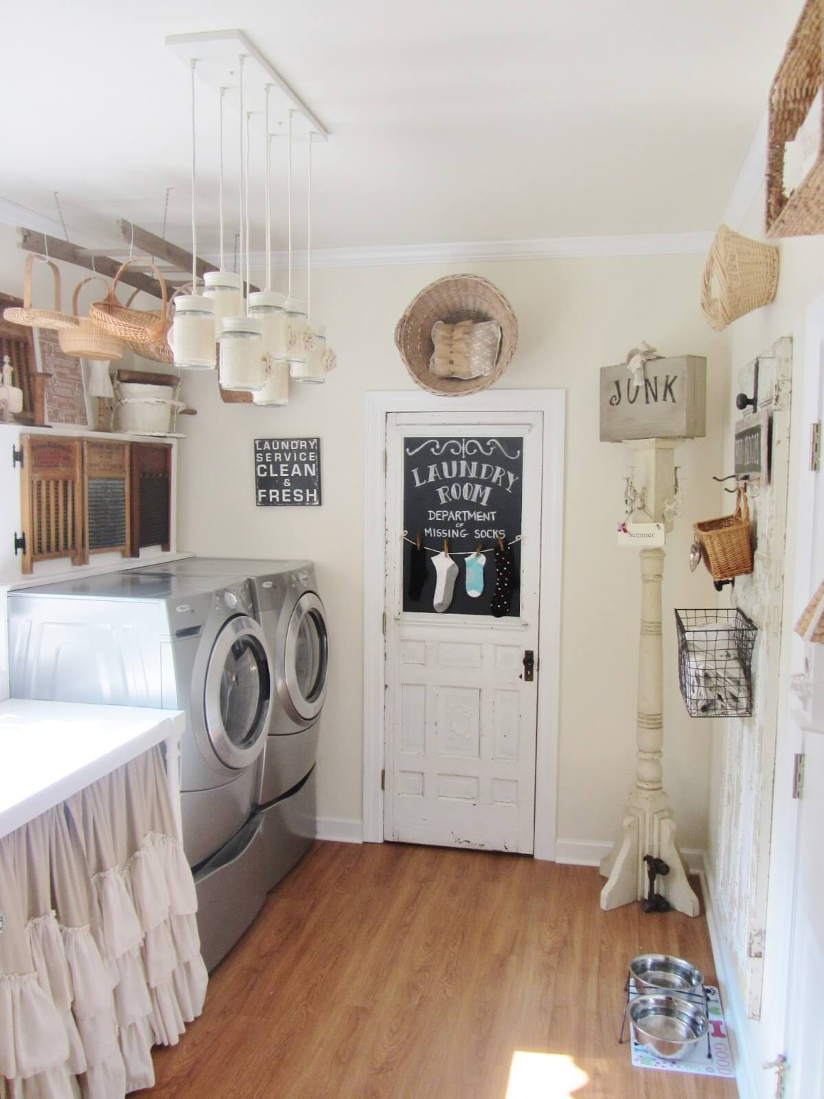 Vintage Laundry Room with Wicker Basket Storage