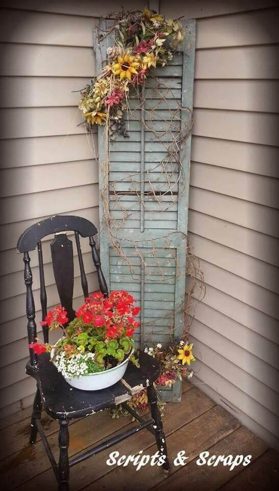 Old Chair, Old Shutter, Fresh Flowers