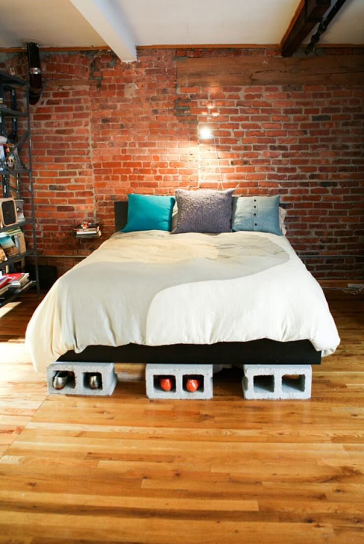 Cinder Block Platform Bed with Built in Shoe Storage