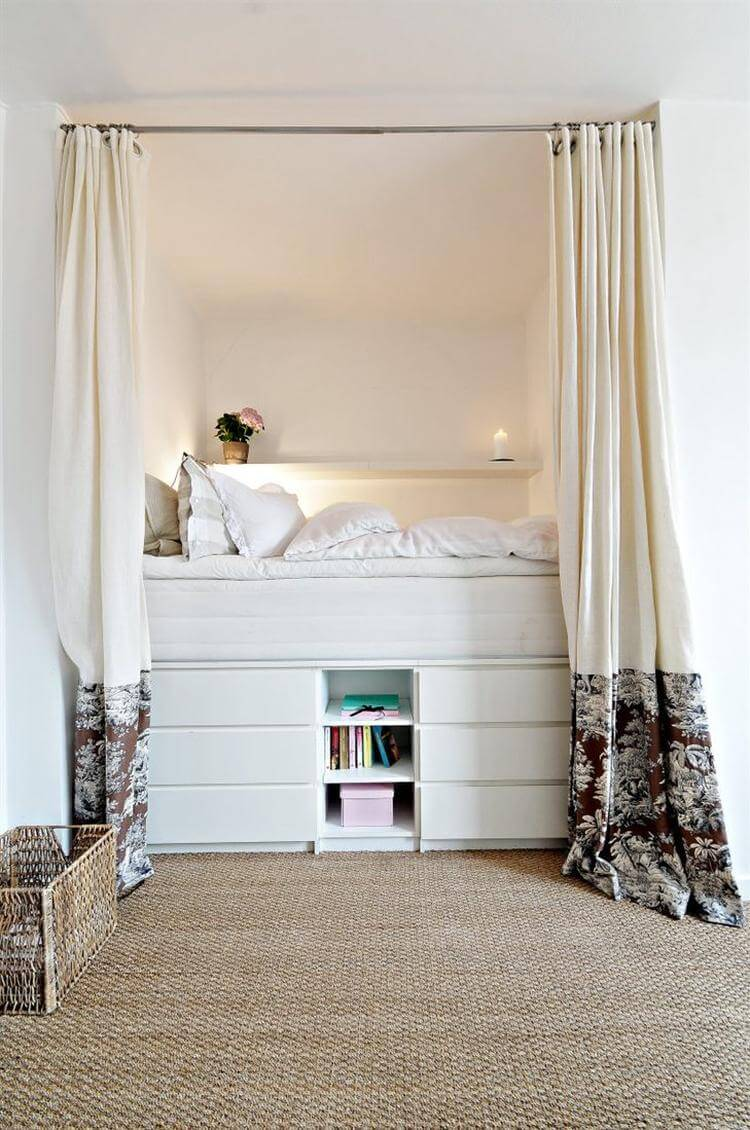Cozy Elevated Bed With Multi Layer Storage