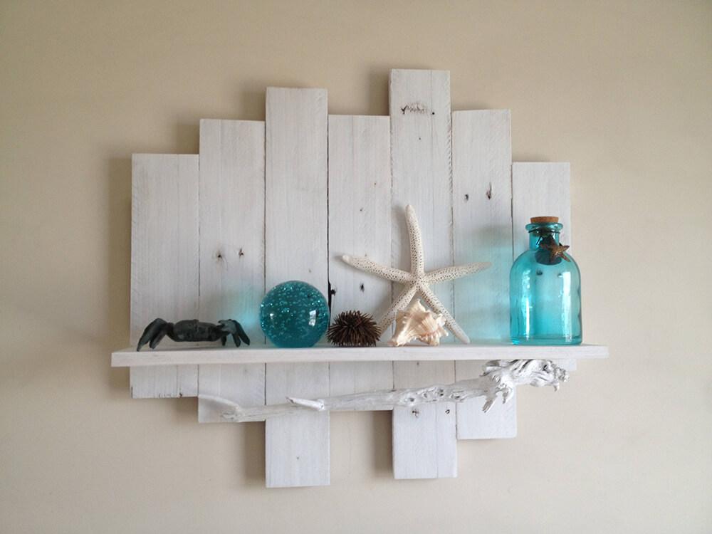 Reclaimed Wood Shelf with Driftwood
