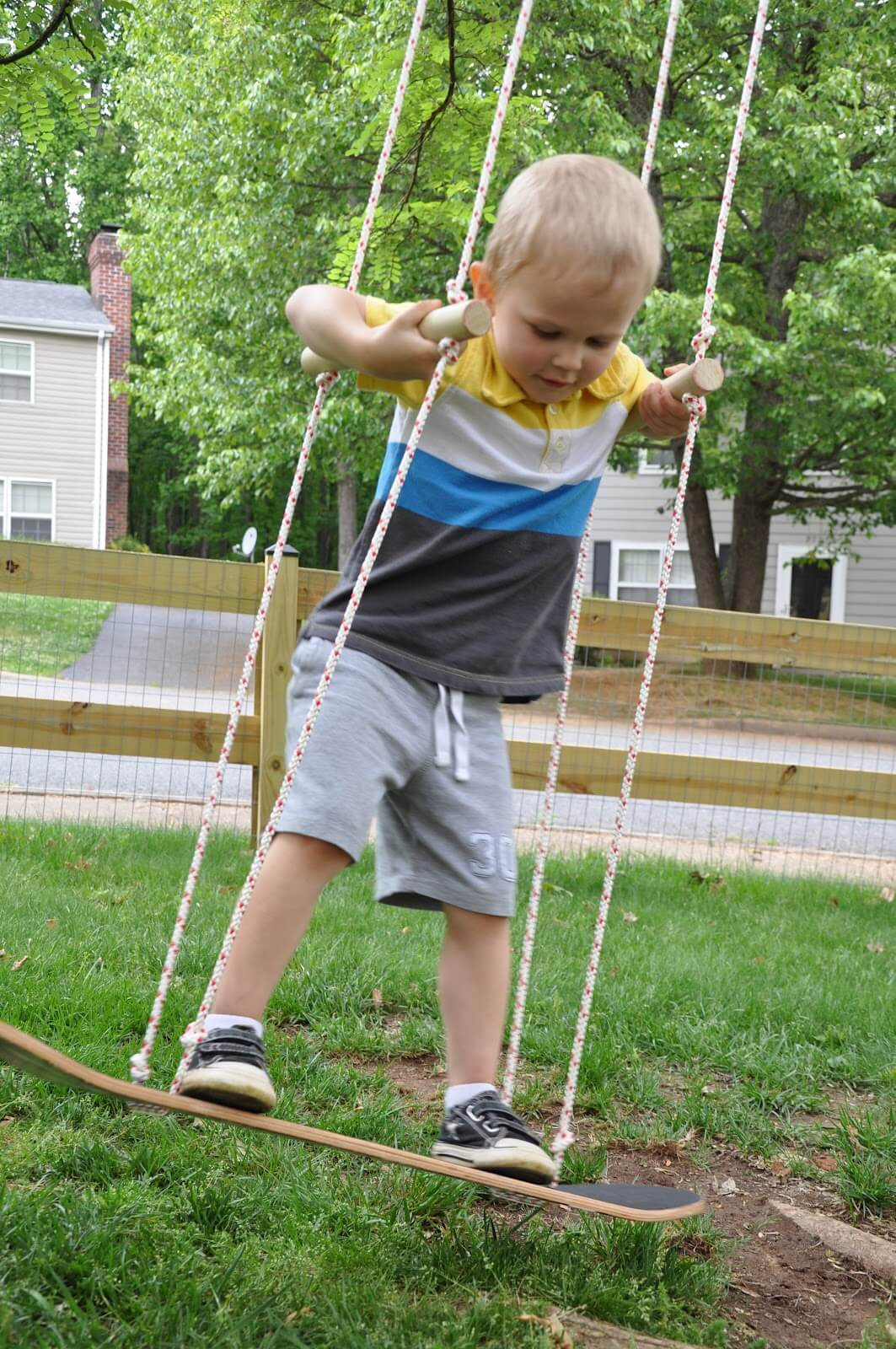 A Skateboard Swing with Handles for Safety