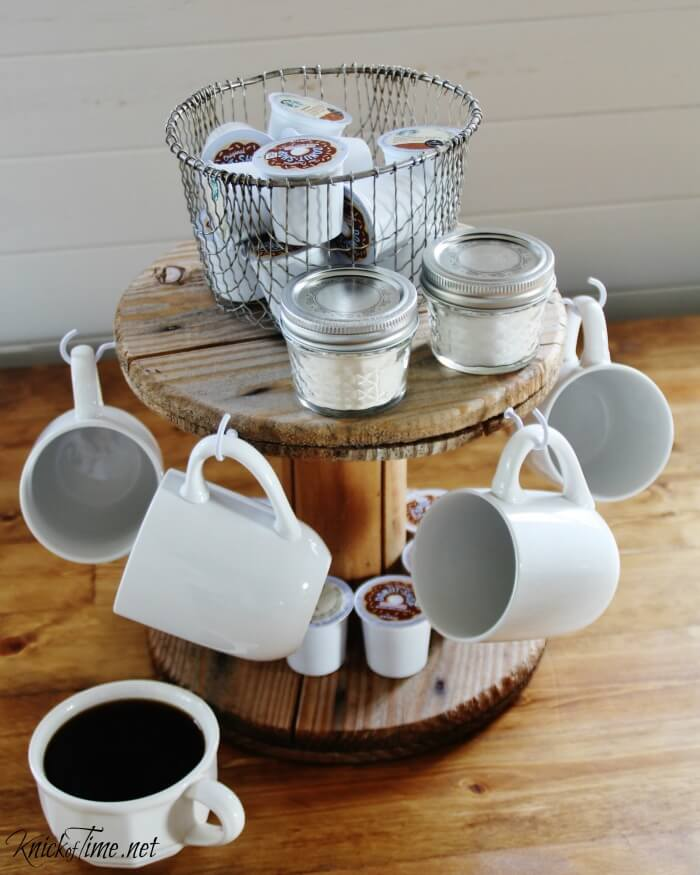 Lazy Susan Coffee Center with Hanging Mugs