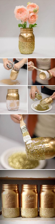 Golden Mason Jars with Glitter Bases
