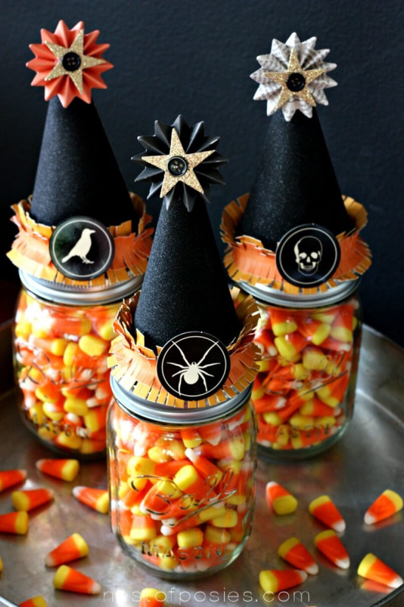 Fancy Witch Hat Mason Jar Halloween Craft