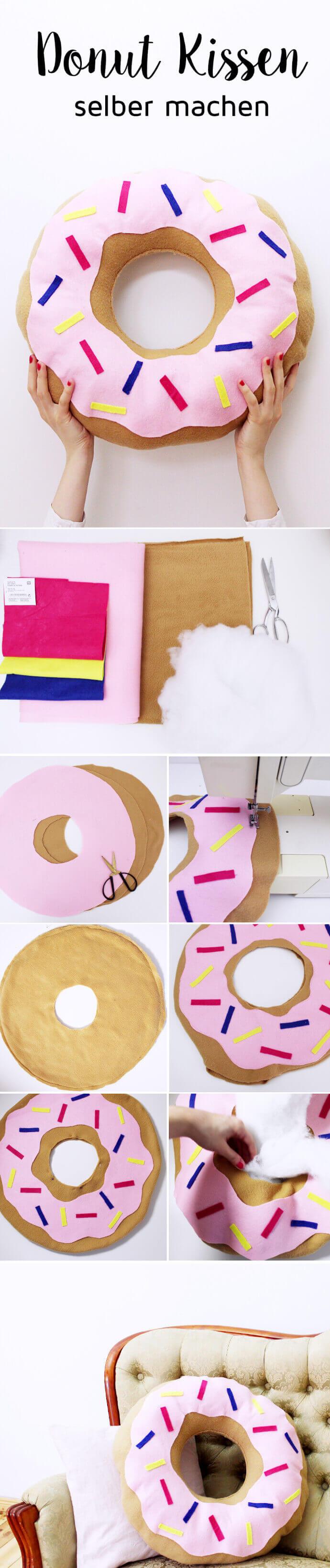 Cute DIY Doughnut Throw Pillow