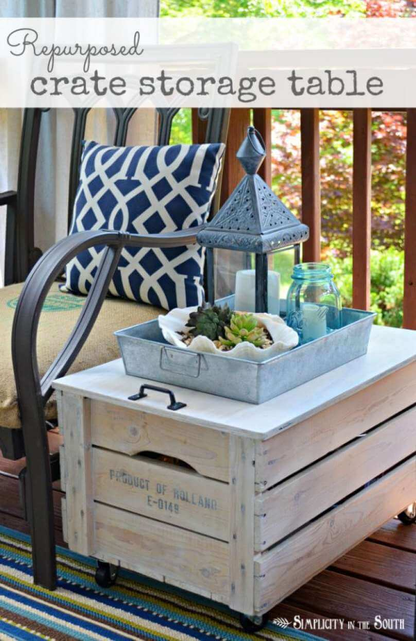Rolling Upcycled Wood Crate Accent Table
