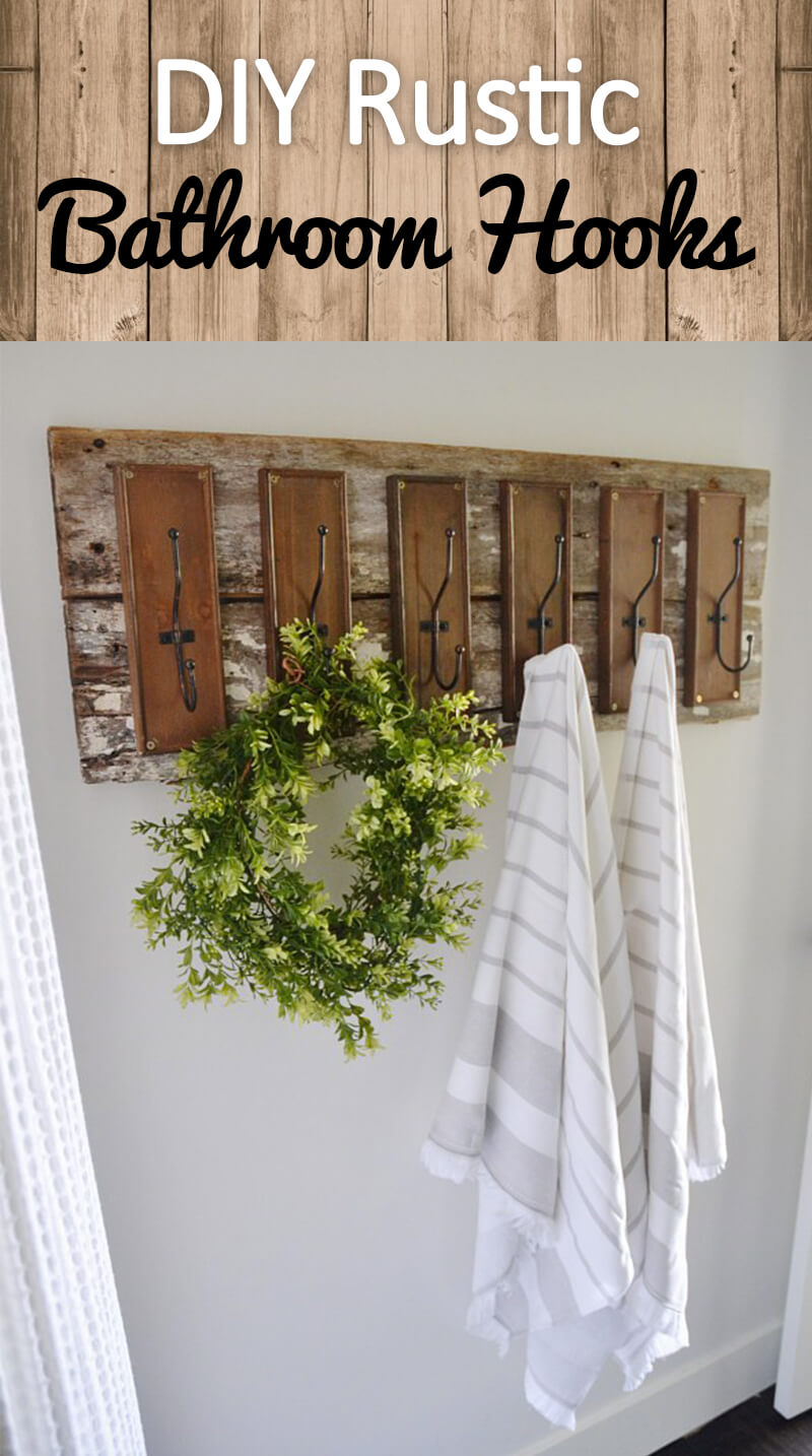 DIY Rustic Farmhouse Bathroom Hooks