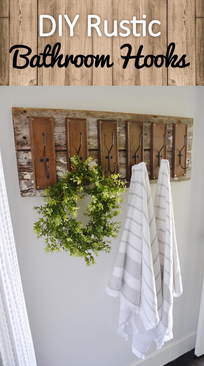 DIY Rustic Farmhouse Bathroom Hooks