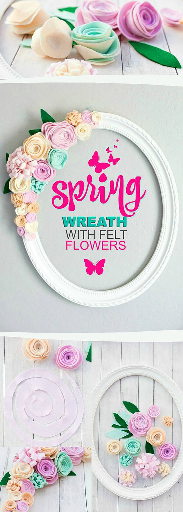 Oval Wreath with Easy Felt Flowers
