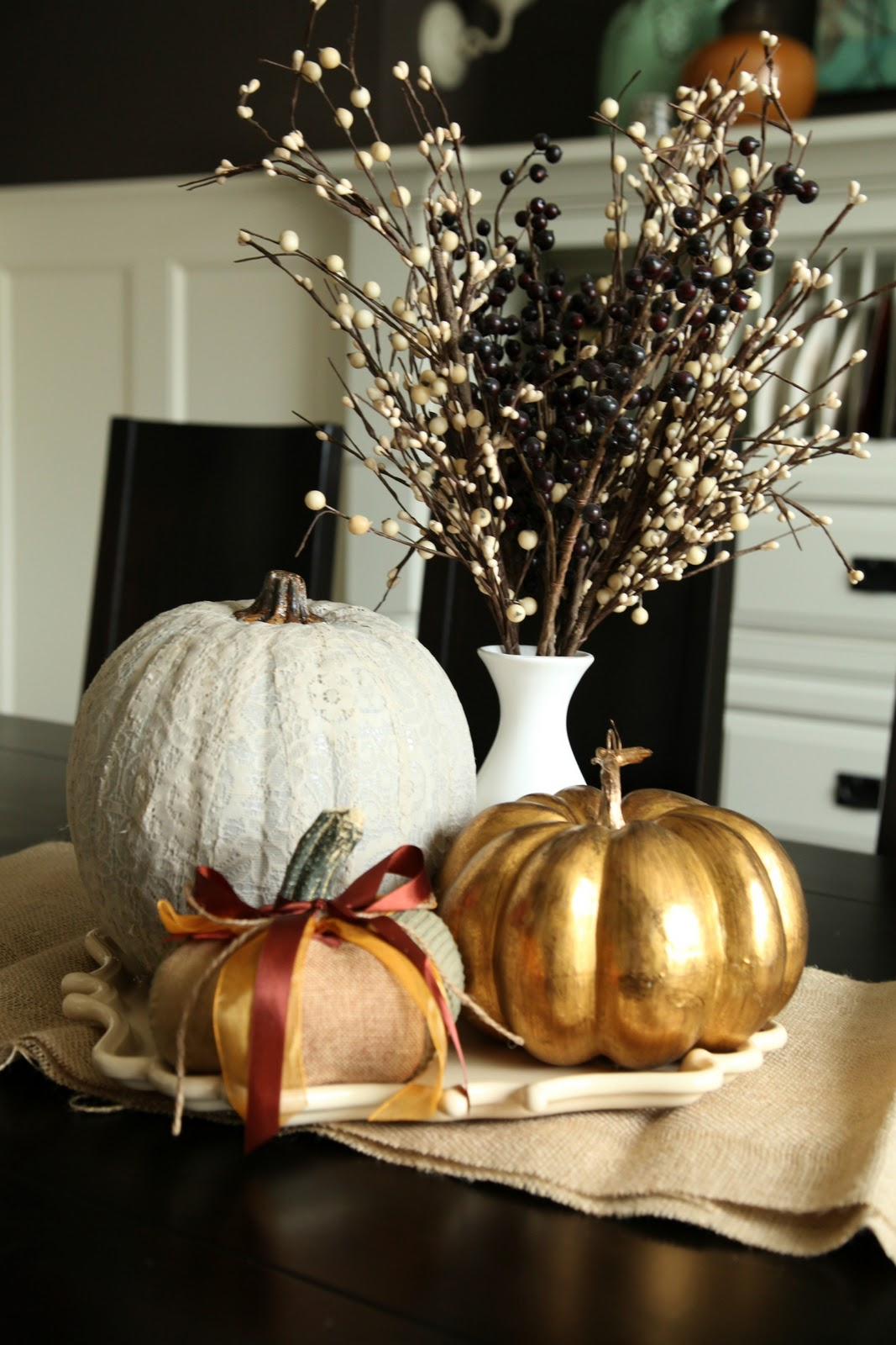 Elegant Gourd and Willow Bough Centerpiece with Burlap Runner