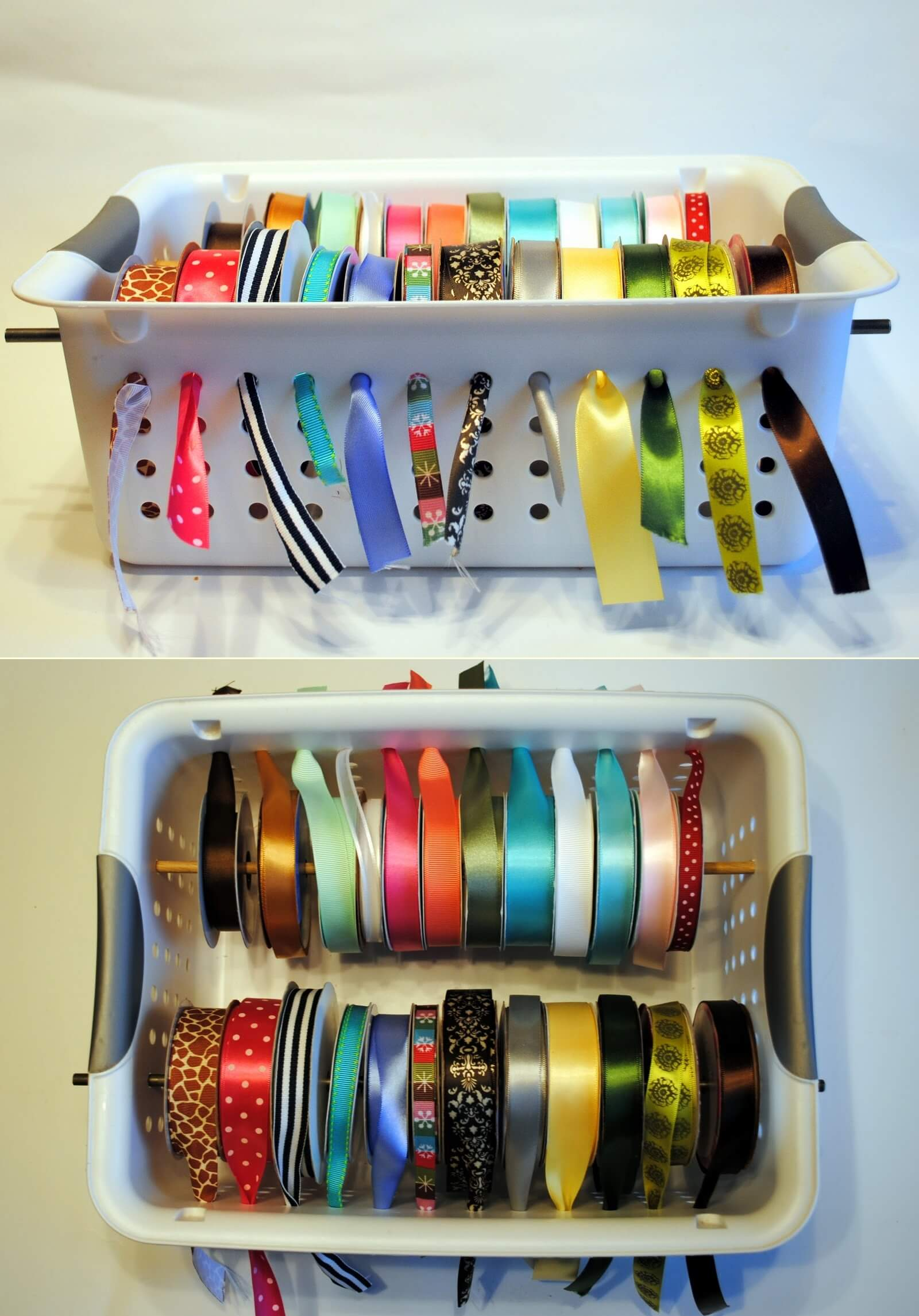 Laundry Basket Ribbon Dispenser