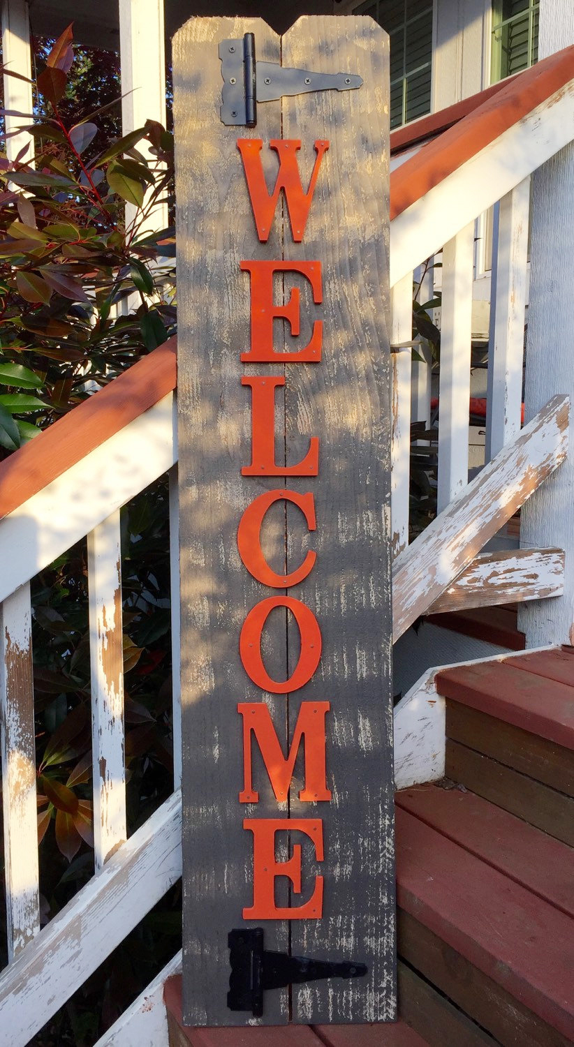Rustic Style Wood Welcome Sign