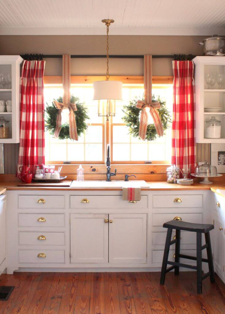 White Farmhouse Cabinets with Gold Hardware