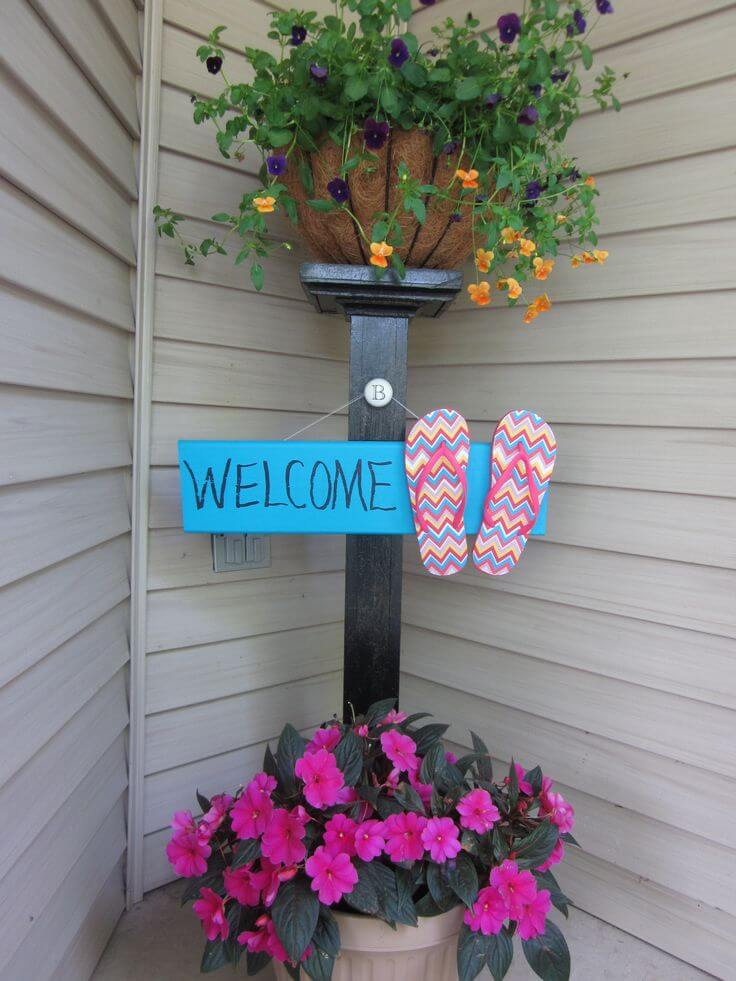 Flower Stand Post and Decorative Summer Sign