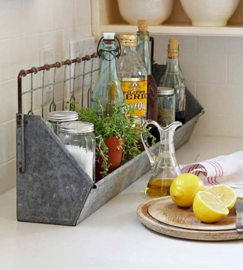 Galvanized Metal Tray for Oils and Seasonings