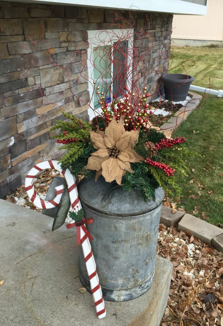 Festive Poinsettia Milk Can Planter