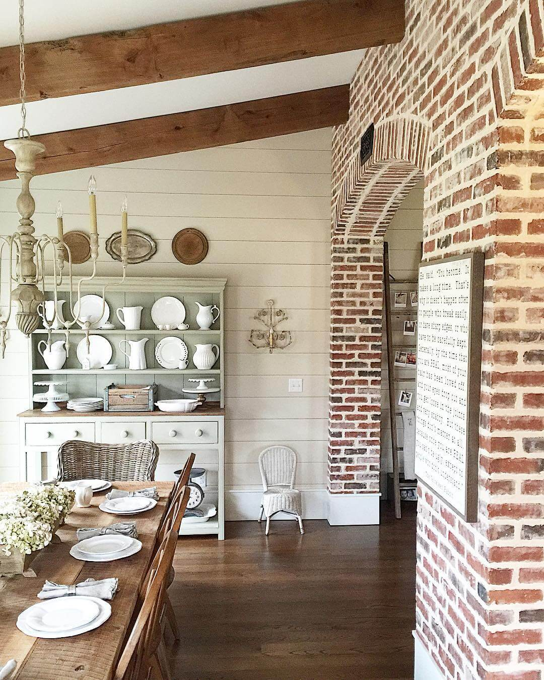 Exposed Beams, White Porcelain, and Upcycled Lighting