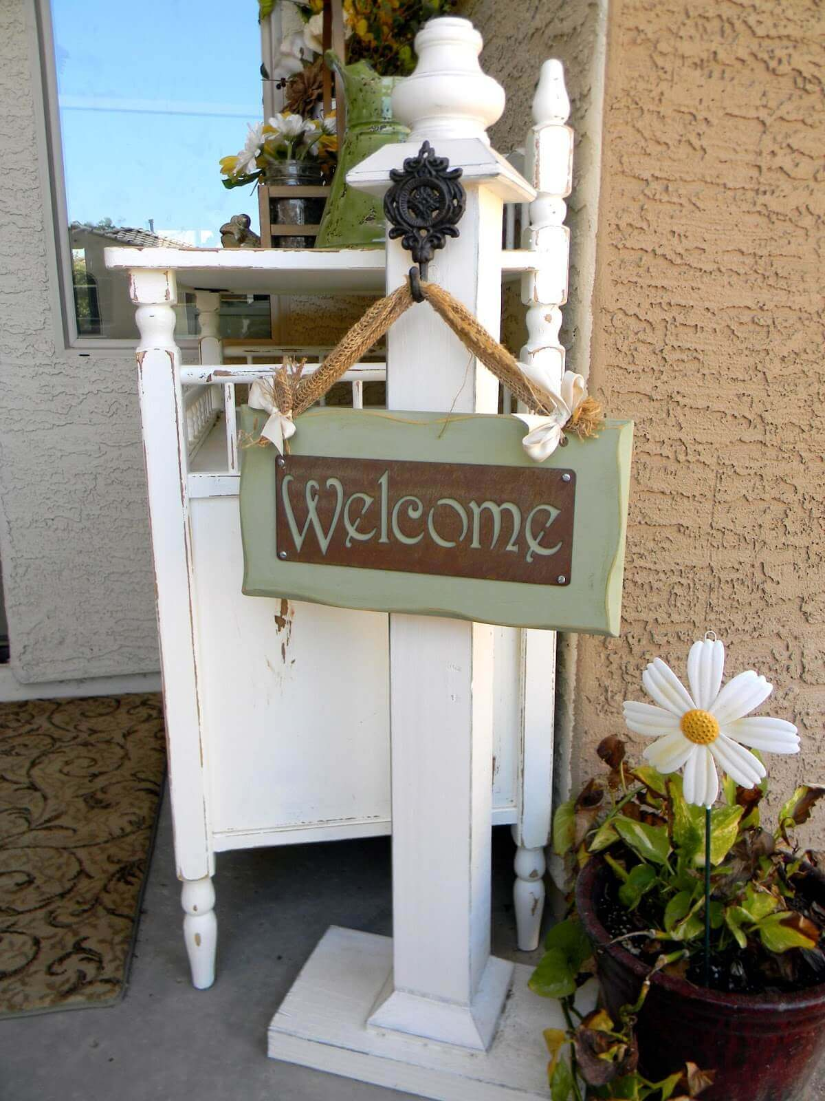 Distressed White Welcome Post