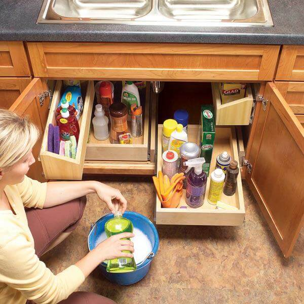 Sliding Drawers Make Sink Storage Simple