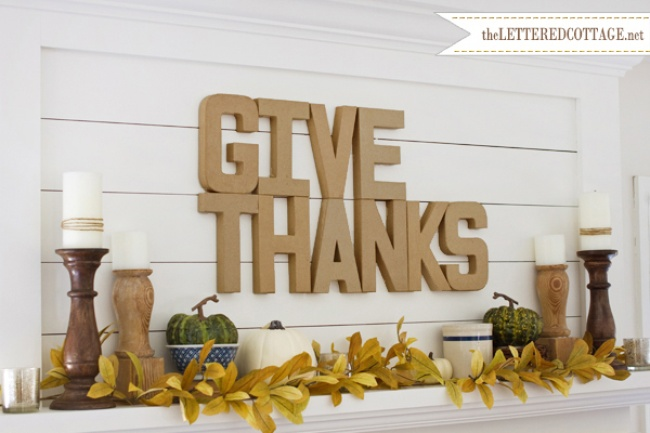 Neutral Mantel Decor with Golden Fall Leaves and Pumpkins
