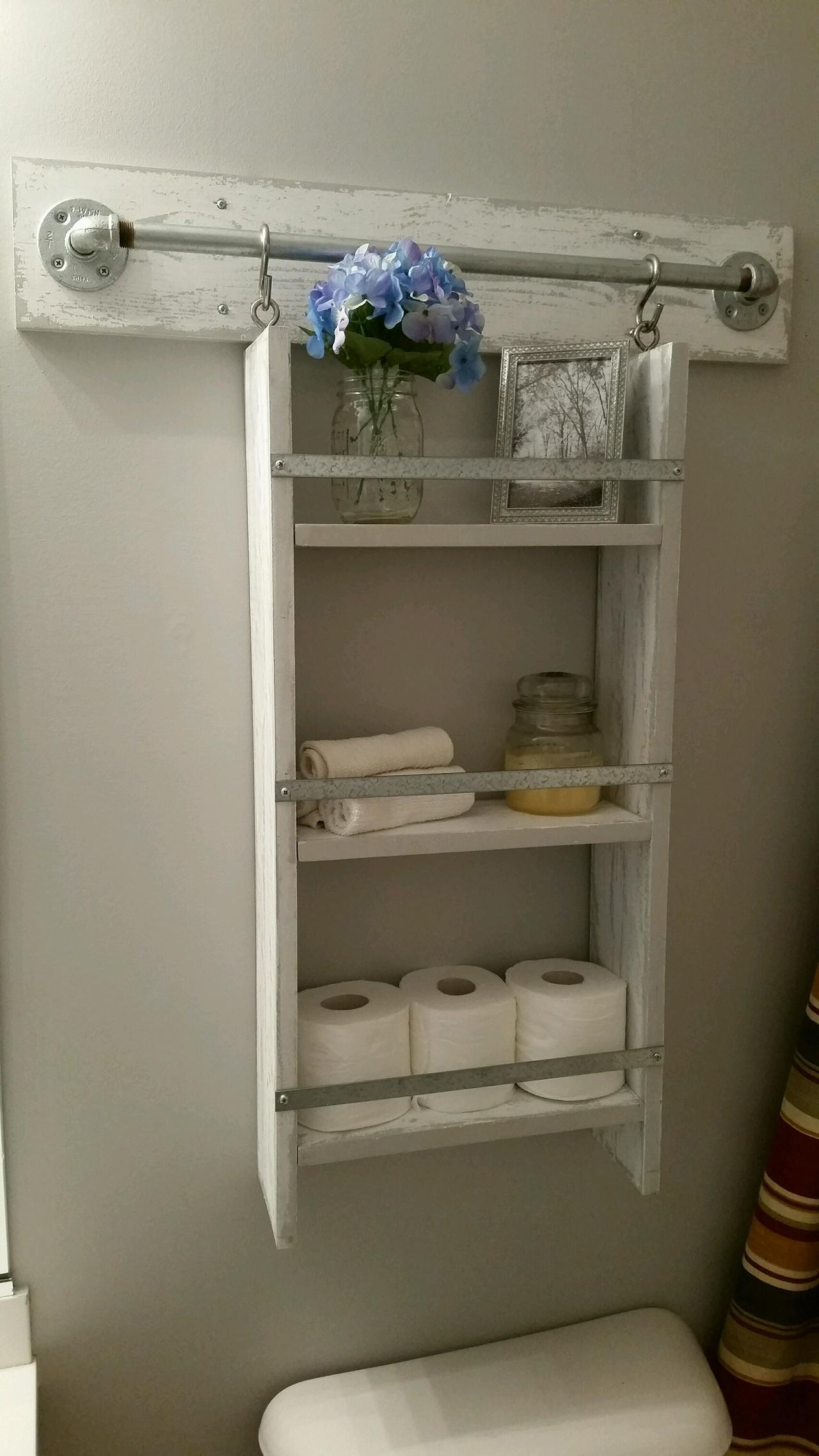 Whitewashed Storage Rack with Towel Bar Hooks