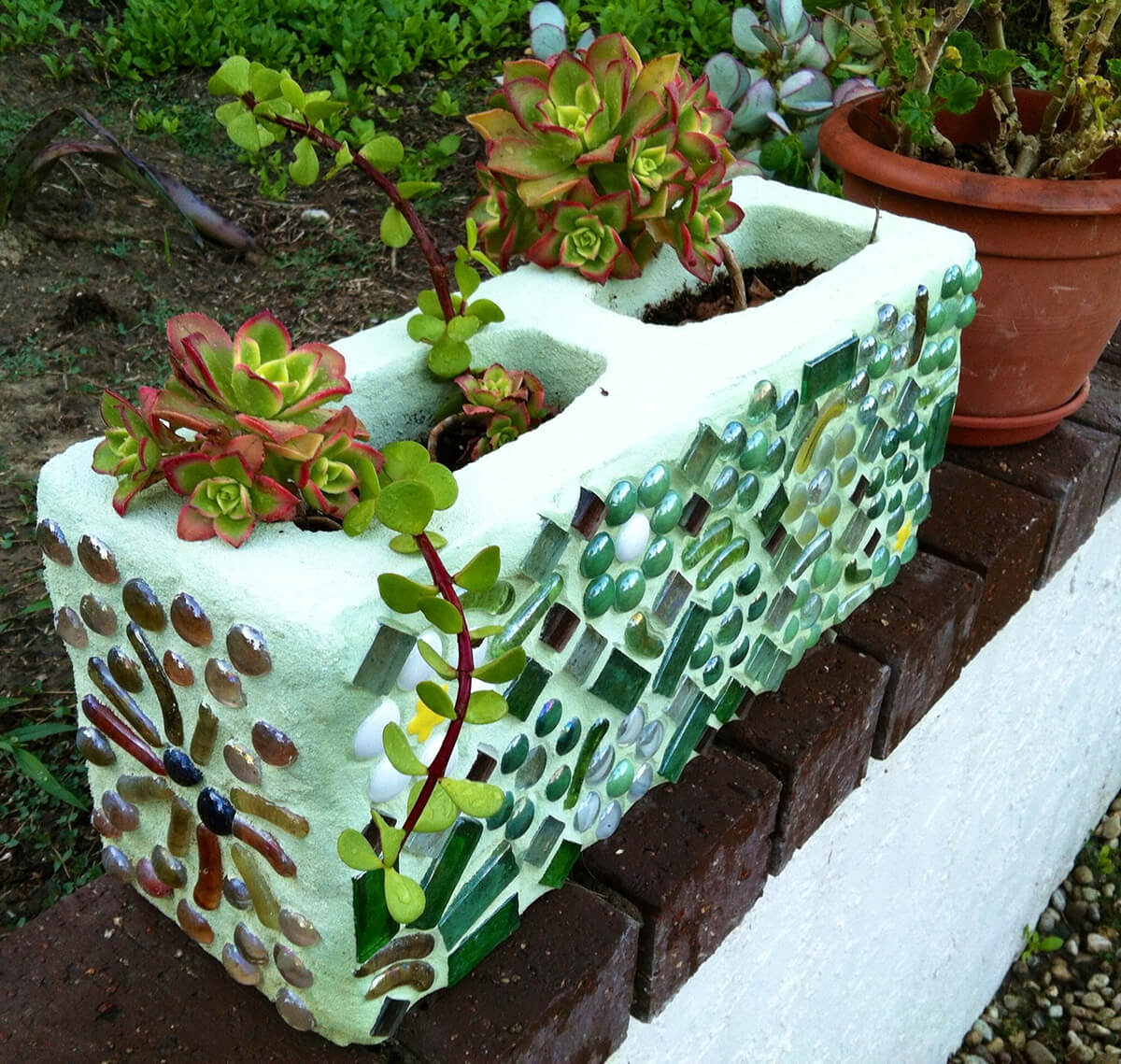 Magnificent Mosaic Cinder Block Planter