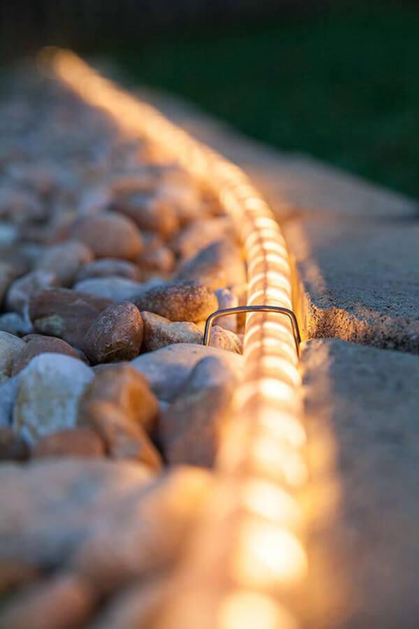 Rope Light Gravel Pathway Illumination