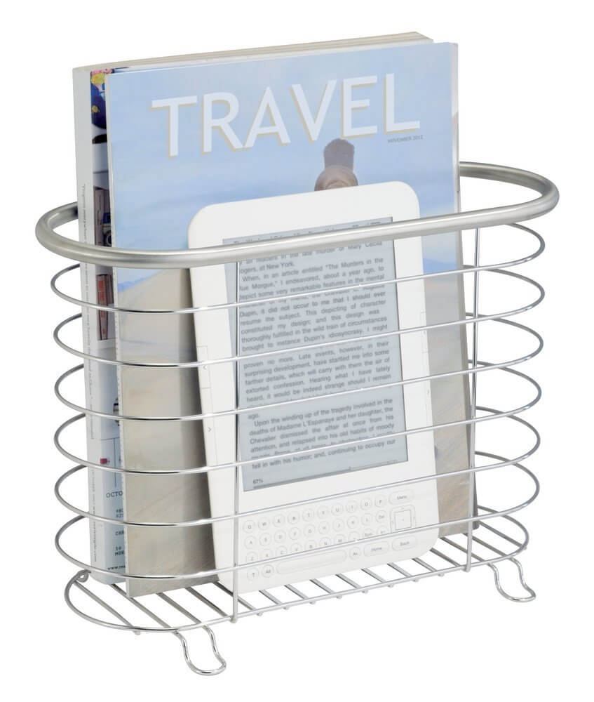 Classic Brushed Stainless Magazine Rack