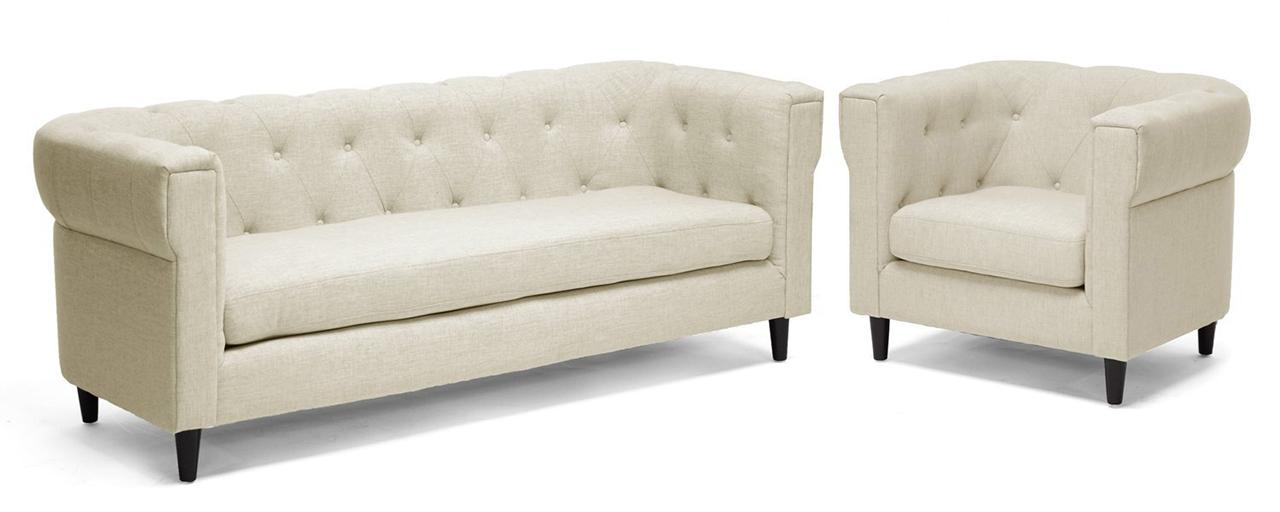 Baxton Studio Cortland Linen Modern Chesterfield Sofa