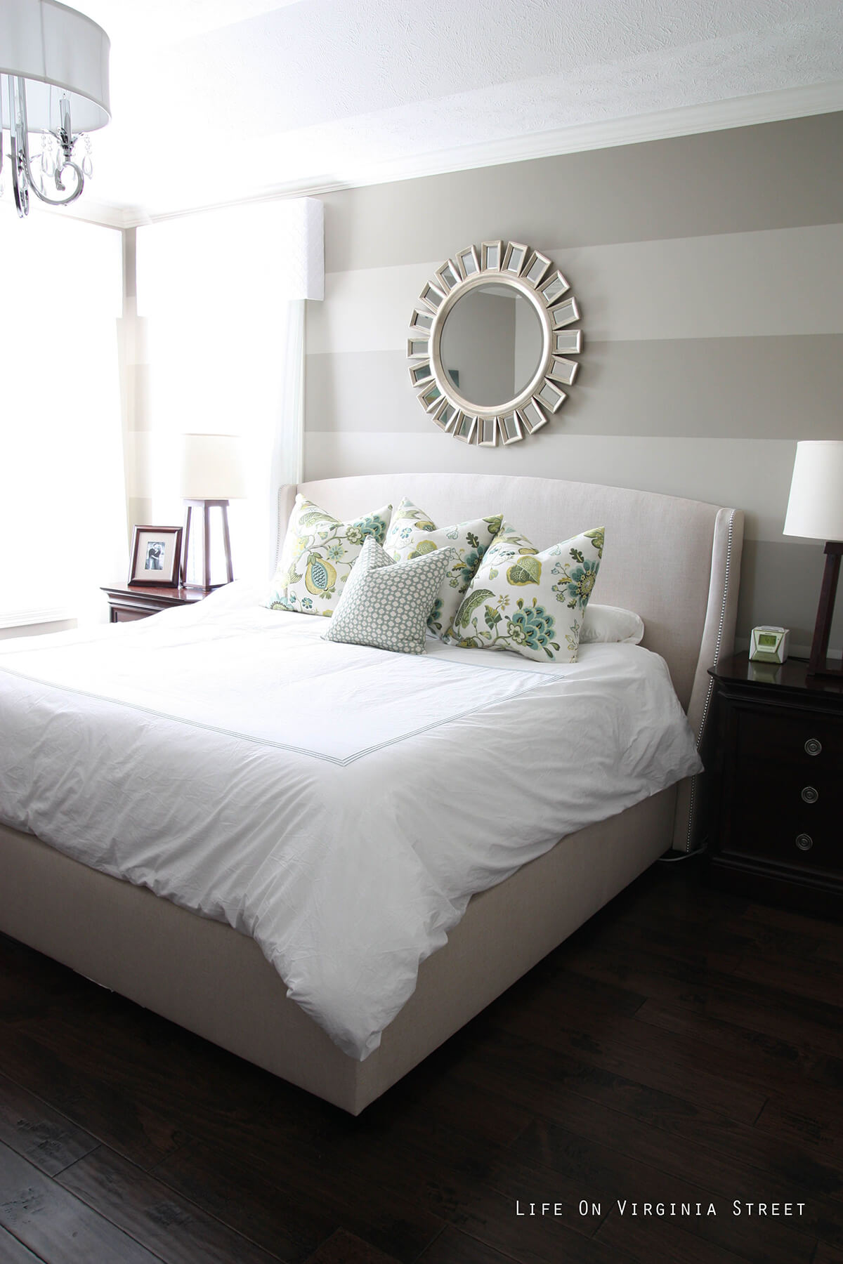 Flower Mirror on Gray Two-Tone Wall