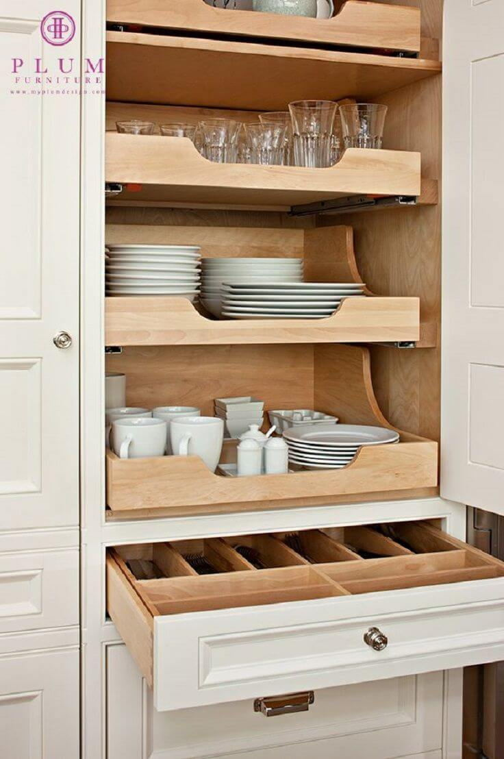 Sliding Shelving Makes Kitchen Essentials Easy to Reach