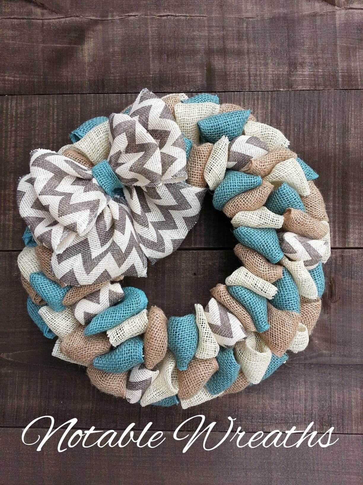 Coastal Farmhouse Burlap Fabric Wreath