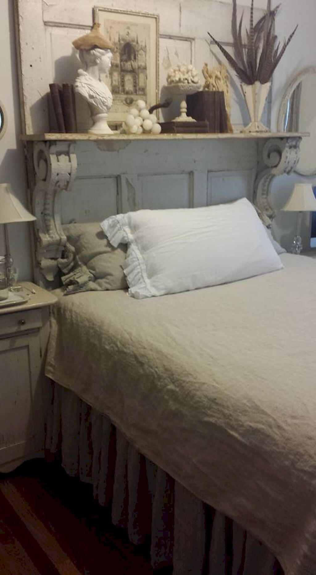 Architectural Salvage Headboard Idea with Shelving